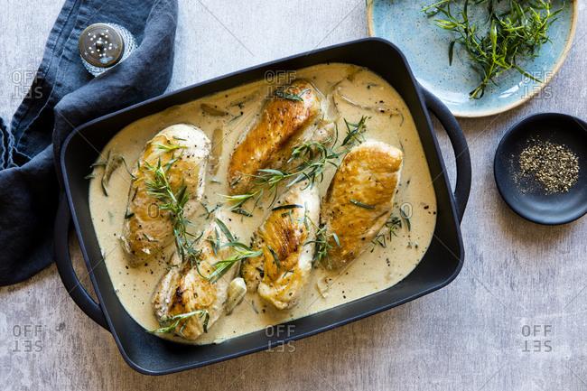 Creamy chicken casserole with tarragon