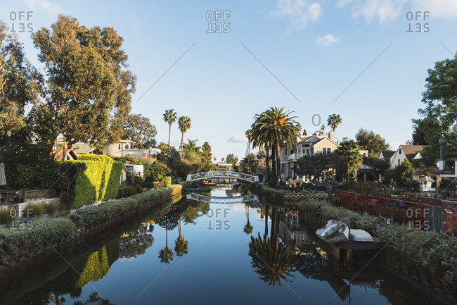 Los Angeles, California - March 12, 2018: Canal in the historic district of Venice in Los Angeles