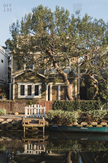 Los Angeles, California - March 12, 2018: House in the Venice Canal Historic District