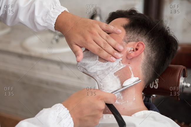 Shave at the barbershop, Lisbon, Portugal, Lisbon, Portugal