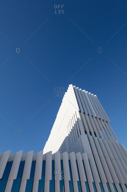 Lisbon, Portugal - August 3, 2017: DP Headquarter, a geometric building designed by Aires Mateus