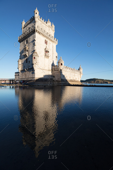 Tourists visit Tower of St Vincent, Lisbon, Portugal