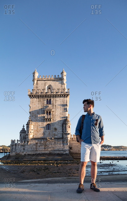 Tourist visits the Tower of St Vincent , Lisbon, Portugal