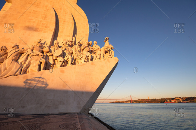 Lisbon, Portugal - August 3, 2017: Monument to the Discoveries at golden hour