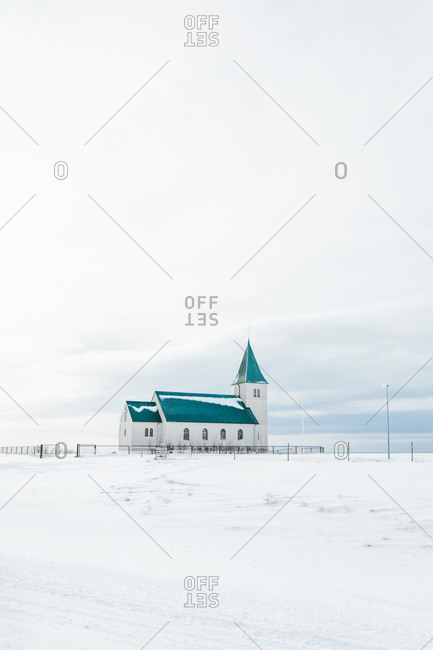 Small church in the snow-covered countryside of Iceland