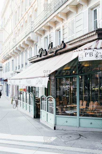 Paris, France - February 22, 2018: Exterior of P'tite Bougnate restaurant