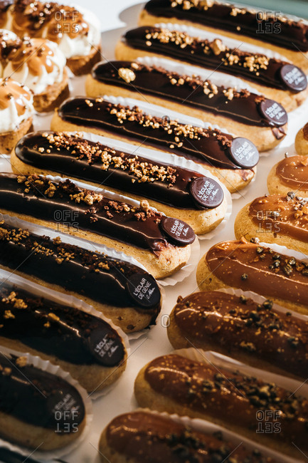 Paris, France - February 22, 2018: Eclairs for sale at French bakery