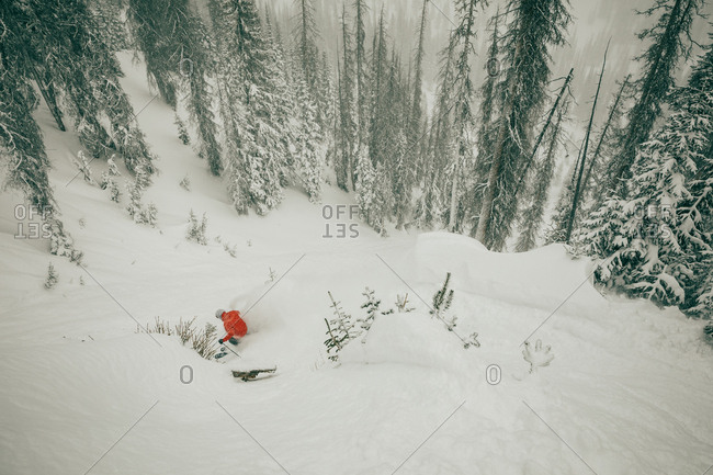 Elevated view of a downhill skier