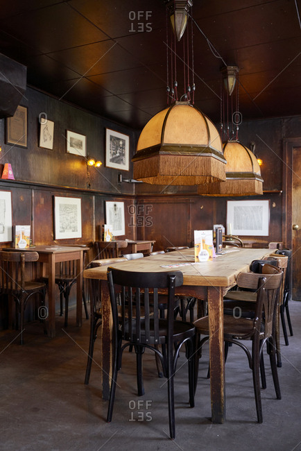 Amsterdam, Netherlands - March 15, 2018: Interior of a traditional brown bar, or bruine kroeg