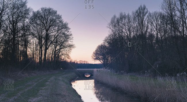 Dutch rural winter landscape with ditch and trees at sunset