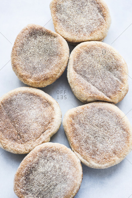 Overhead view of English muffins