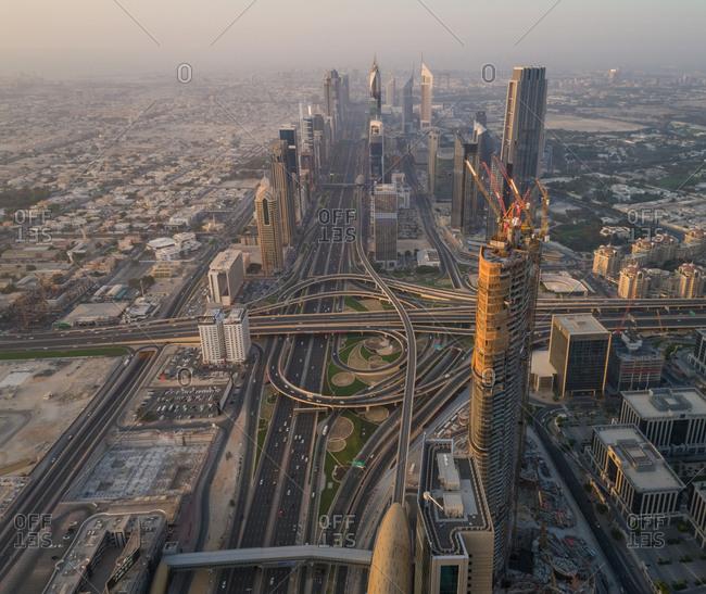 Dubai, UAE - June 17, 2017: Aerial view of building under construction
