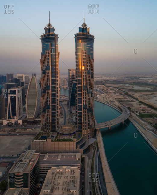 Dubai, UAE - June 17, 2017: Aerial view of the Emirates clinic building close by the canal