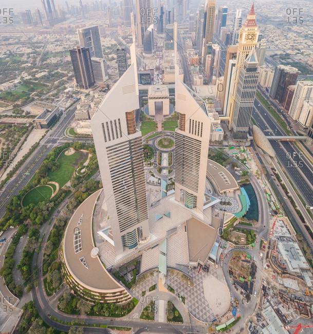Dubai, UAE - June 23, 2017: Aerial view of the Emirates towers in mist