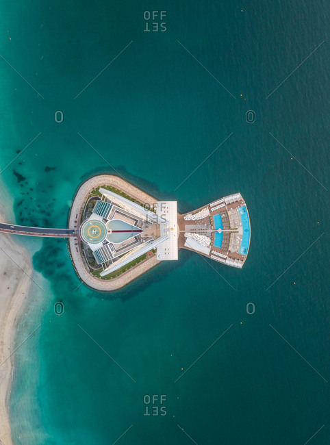 Dubai, UAE - June 7, 2017: Aerial view of the luxurious Burj Al Arab Hotel in Dubai bay