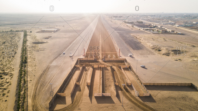 Aerial view of racetrack in Dubai, UAE