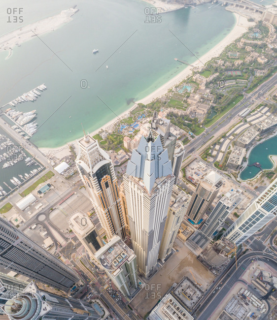Aerial view of modern towers in downtown Dubai, UAE
