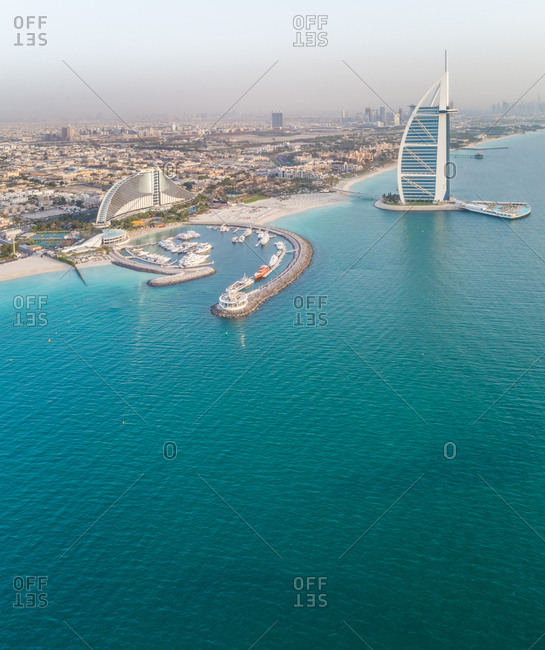 Aerial view of the luxurious hotel land harbour in Dubai bay, UAE