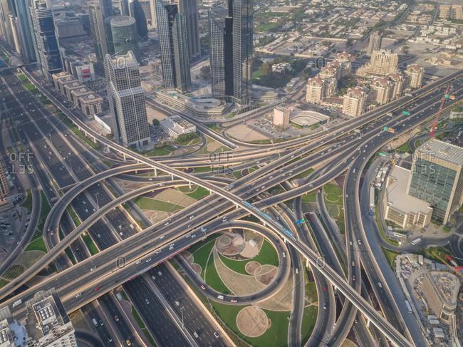 Aerial view of the traffic lanes in Dubai, UAE