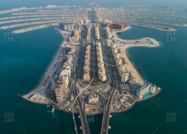 Aerial view of The Palm Jumeirah in Dubai, UAE