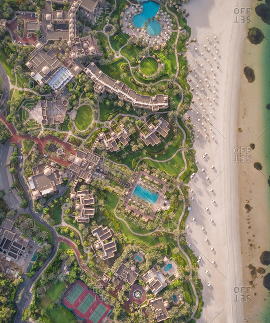 Aerial view of Palm Jumeirah beach in Dubai, UAE