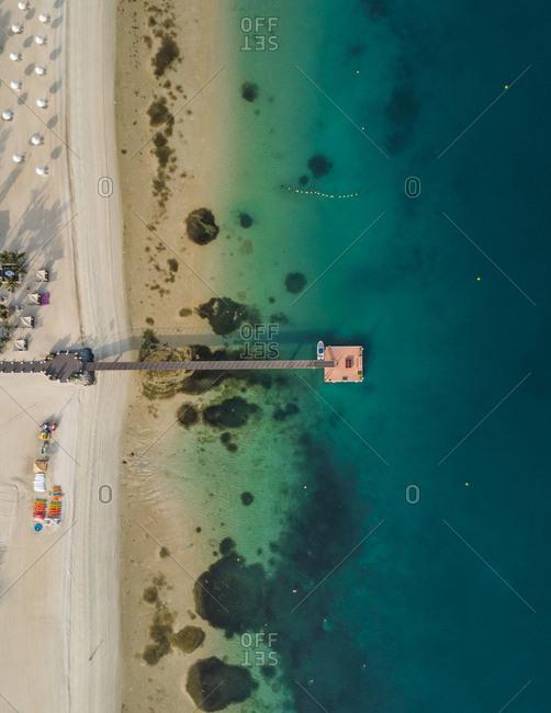 Aerial view of a pontoon on Palm Jumeirah beach in Dubai, UAE