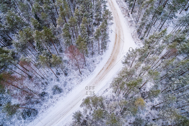 Aerial view of an empty turn corvered with snow in the forest in Estonia
