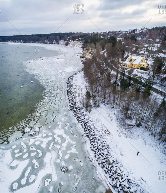 Aerial view of frozen sea in Tallinn bay coast Estonia