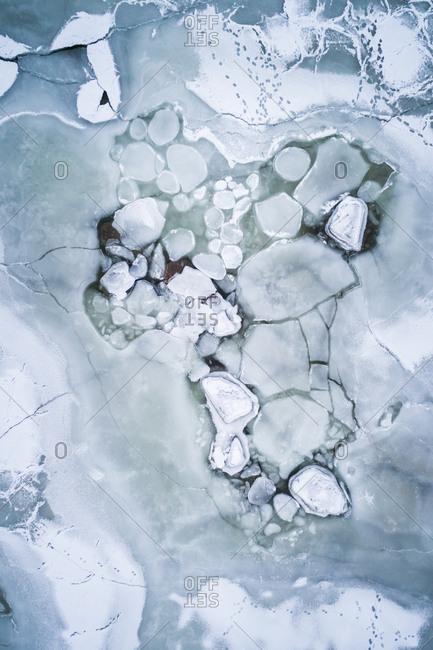 Abstract aerial view of frozen sea in Tallinn bay in Estonia