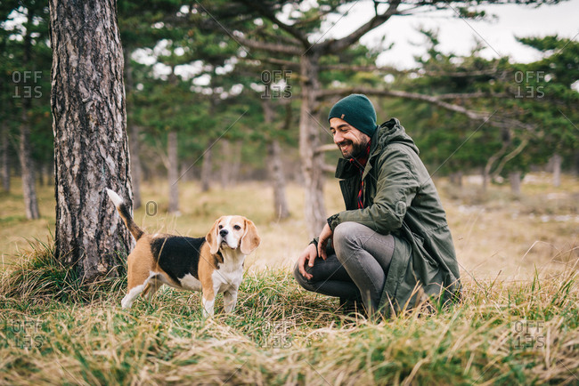 Man and his dog in nature