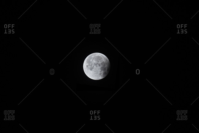 Only small part of the moon in shadow after total lunar eclipse
