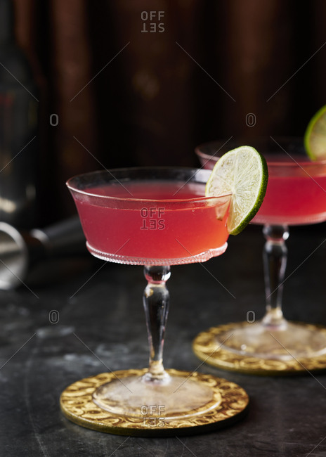Close up of cosmopolitan cocktail in coupe glass