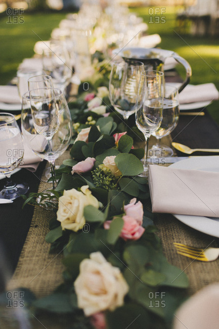 Outdoor wedding table decoration details