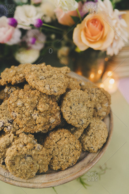 Fresh baked cookies on wedding reception dining table