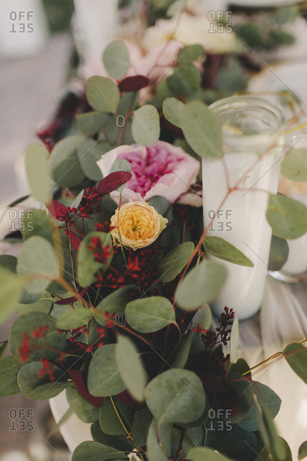 Close-up of wedding reception floral table centerpiece