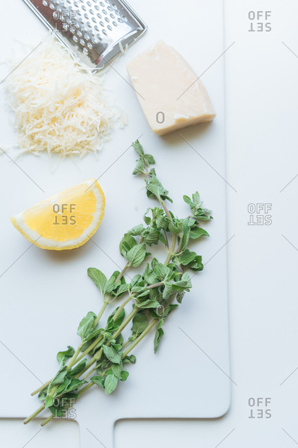 Fresh organic lemon pasta ingredients on cutting board