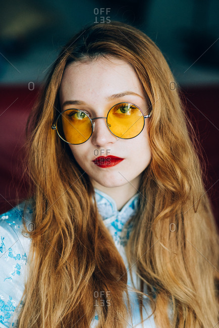 Portrait Of Beautiful Red Hair Girl Wearing Retro Glasses And
