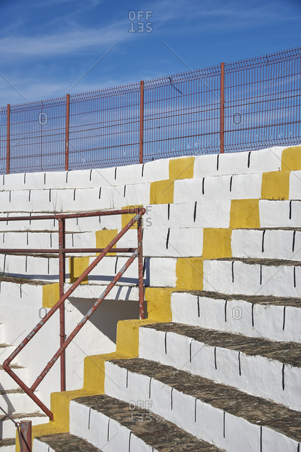Stepped concrete seating in the bullfighting arena in Sousel, Portugal