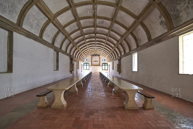 Looking down the arched refectory at the Convent of Christ in Tomar, Portugal