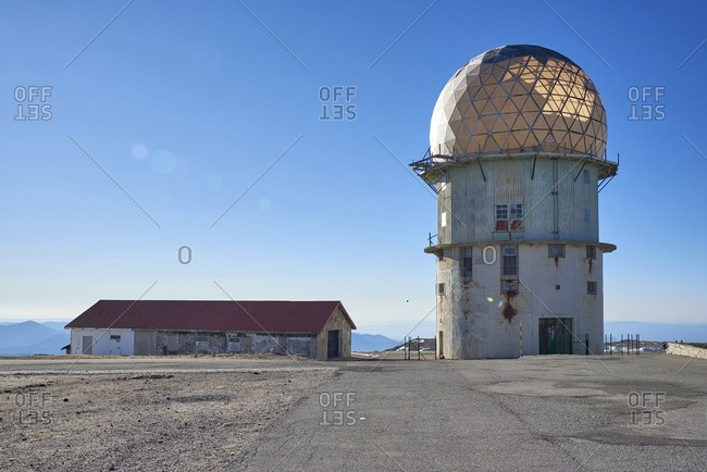 Abandoned radar facility marking highest point of Estrela Mountain in Portugal
