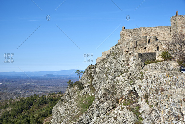 Fortified walls of the hilltop village of Marialva in Serra da Estrela mountains in Portugal