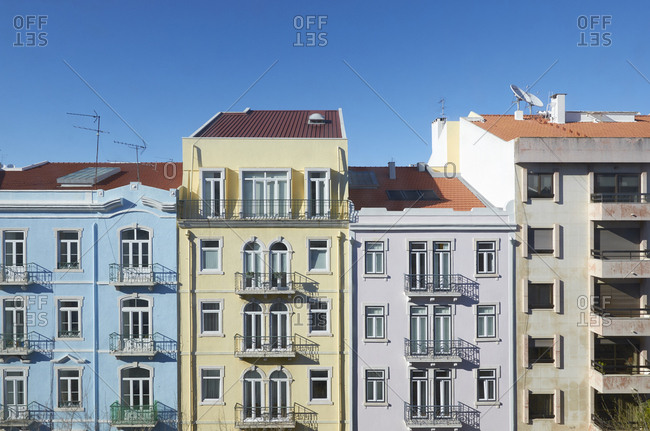 Colorful apartment buildings in Lisbon, Portugal