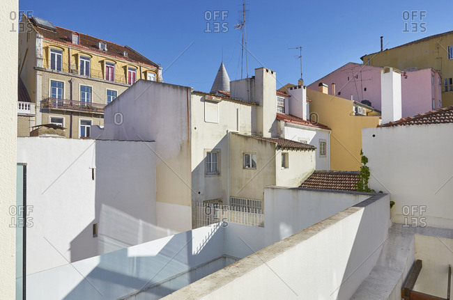 View of colorful neighboring apartment buildings in Lisbon, Portugal
