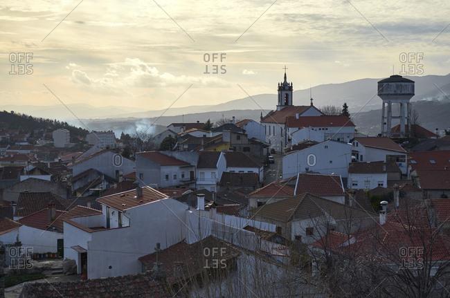 Serra da Estrela, Portugal - December 20, 2012: Town Belmonte in the Serra da Estrela Mountains