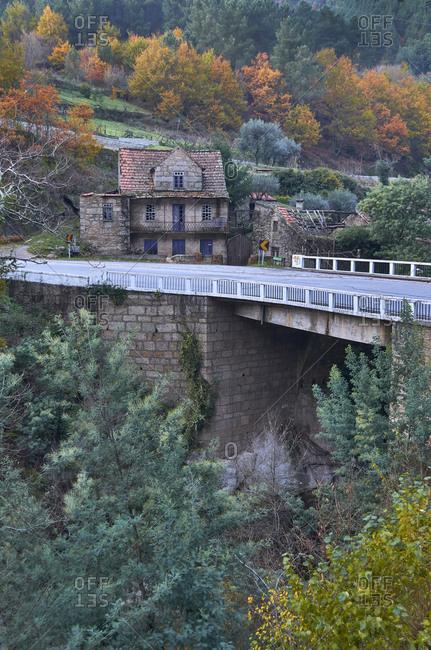 Serra da Estrela, Portugal - December 2, 2012: Building and bridge in the Serra da Estrela Mountains
