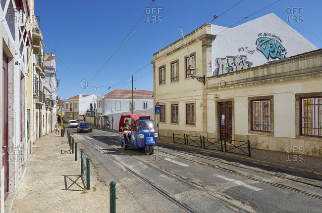 Lisbon, Portugal - August 17, 2015: Taxi on street in Lisbon, Portugal