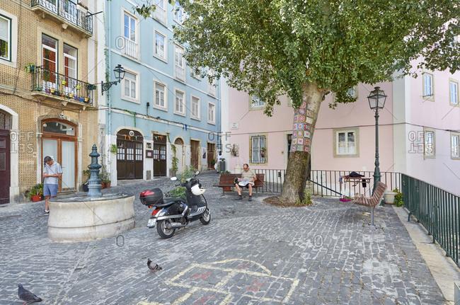 Lisbon, Portugal - August 15, 2015: Street scene in Lisbon, Portugal