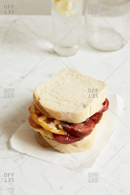 Tomato sandwich on a marble counter