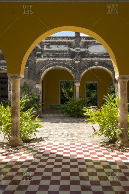 Yaxcopoil, Yucatan, Mexico - October 13, 2017: Archway in the Hacienda Yaxcopoil in the state of Yucatan in Mexico
