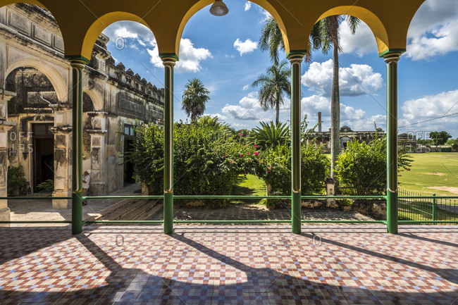 Yaxcopoil, Yucatan, Mexico - October 13, 2017: View of garden at the Hacienda Yaxcopoil in the state of Yucatan in Mexico